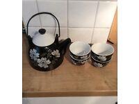 The Pier 'Midnight Blossom' tea pot & cups