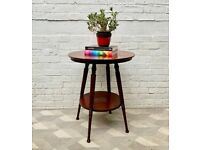 Vintage Round Wooden Side Table 2 tiers from USA