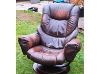 Leather recliner chair with foot stool £40