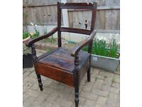 antique mahogany victorian commode chair armchair bedroom chair