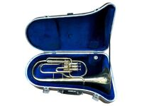 BOOSEY AND HAWKES B&H 400 Eb BRASS HORN with MOUTHPIECE & FITTED CARRY CASE BOX