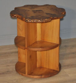 Attractive Small Bespoke Burr Elm Circular Coffee Side Table With Bookshelves