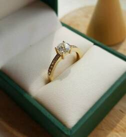 9ct Yellow Gold Cubic Zirconia Solitaire Ring M 375 Hallmarked 9KT