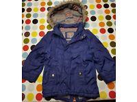 John Lewis boy's blue parker coat for age 3