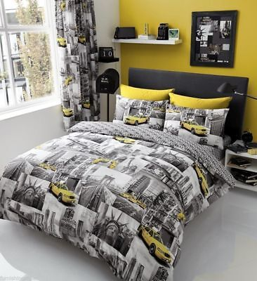 NEW YORK Patchi Printed Duvet or Quilt Cover Reversible Yellow with Grey Bedding