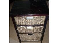 Three Drawer Basket Storage Table in good condition! organiser