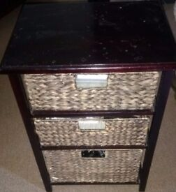 Three Drawer Basket Storage Table in good condition! organiser