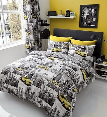 NEW Grey Yellow Taxis New York Patch Printed Bedding Bed Duvet Set All Sizes