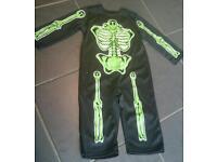 Halloween skeleton costume age 1-2 glow on the dark baby toddler green costume