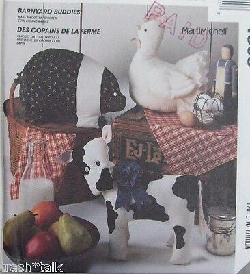 McCalls 4908 Barnyard Buddies pattern ROOSTER COW PIG Marti Michell