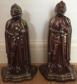 PAIR of Knight Cast Iron Fireplace Companions Vintage Iridescent