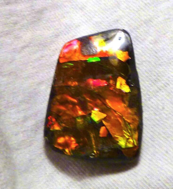 Huge! RED Green Rippled Pattern AMMOLITE Finished Gemstone 38x26mm 49cts!