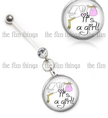 "Stork It's A Girl CZ Maternity Belly Ring Pregnancy Navel Retainer 14ga 2"" 50mm"
