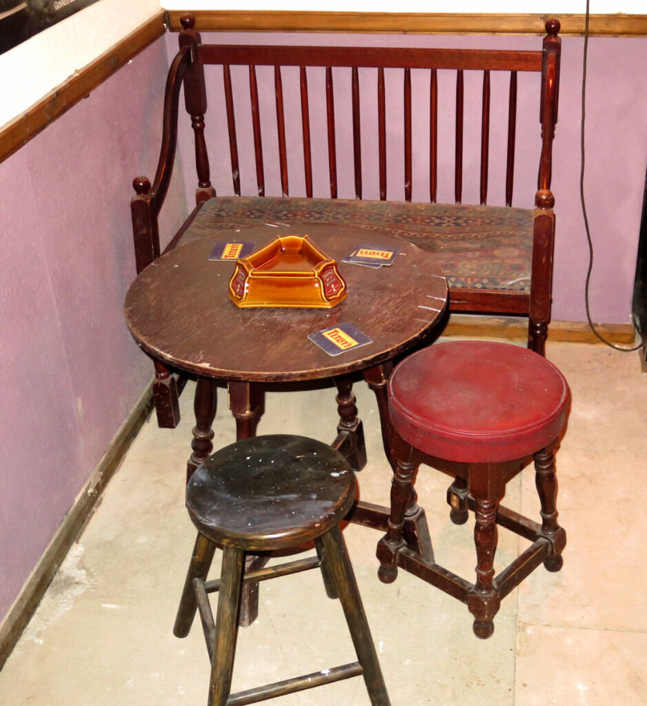 Old Pub Tables Chairs Stools Man Cave Bar