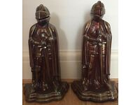 rare PAIR of Knight Cast Iron Fireplace Companions Vintage Iridescent