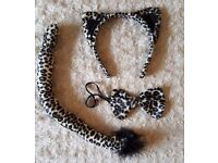 Fancy Dress Accessories - As New/ Never Used - Leopard Print Set incl. Ear Headband, Tail & Bow Tie