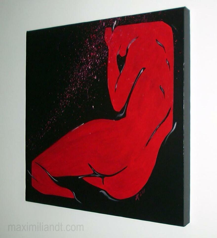 ROTE VENUS - abstrakter weiblicher Akt Leinwand Galeriekeilrahmen in Warendorf