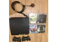 PS 3, 2x Controllers, all cables + 4 Excellent Games