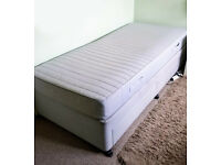 IKEA SINGLE BED SULTAN HEDFORS MATTRESS & ALLEK BASE with 2-DRAWERS in GOOD Condition