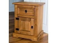 A pair of solid pine bedside tables - varnish paint treated