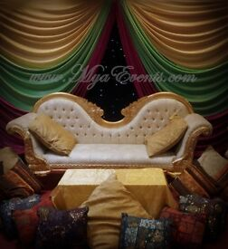 Mendhi Stage Decoration £299 Royal Chair Hire £199 Throne Rental Wedding Pillars Hire £95 Table Deco