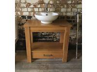 Stunning solid oak bathroom basin washstand vanity unit with tap