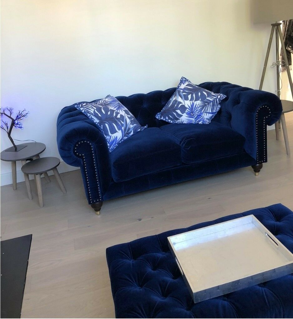 Two Seater Electric Blue Velvet Chesterfield Sofa Matching Ottoman From Swoon