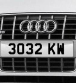 Cherished number registration plate 3032 KW ageless with no prefix ken Kevin Kath kate