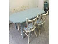 Shabby Chic cream & duck egg blue dining room table & chairs with floral cushions