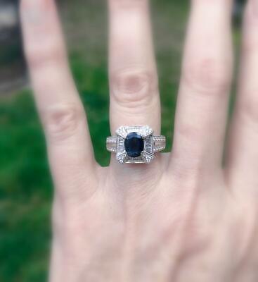 Natural 3.13ct Sapphire Diamond Ring 18k White Gold Deep Blue 9 (Deep Blue Sapphire Diamond)