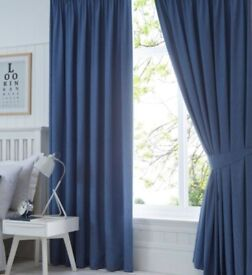 "Pair of 73""x61"" Luxury Blue Ready to Hang Pleated Curtains.Incl.Tie Back+Hooks."
