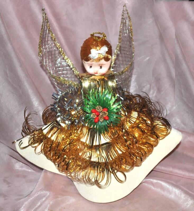 "VTG ANGEL XMAS TREE TOPPER MID CENTURY, GOLD 14"" W FOIL TRIM, FLOCKED DRESS #2"