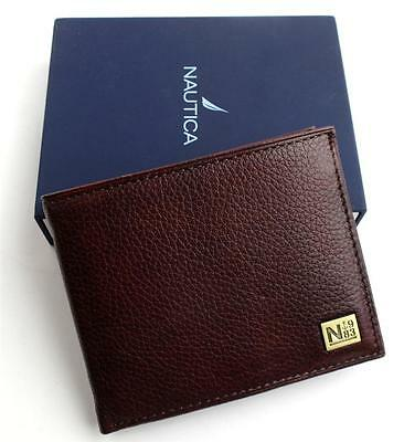 NEW NWT NAUTICA MEN'S PREMIUM LEATHER CREDIT CARD ID PASSCASE WALLET BILLFOLD