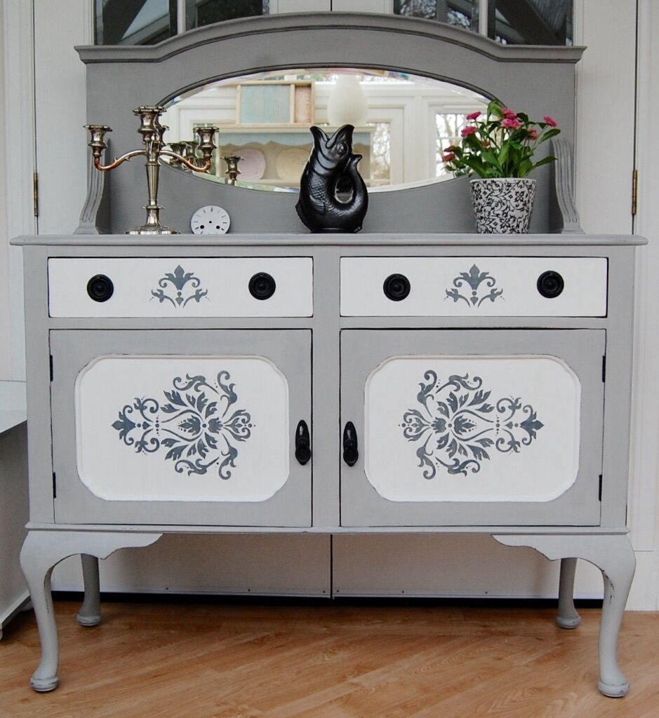 Antique mirror back dresser sideboard hand painted for Sideboard shabby chic