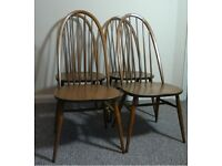 Four Mid Century Ercol Windsor Quaker Golden Dawn Dining Chairs