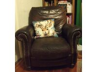 Beautiful Vintage Chocolate Brown Barker & Stonehouse Leather Recliner needs a little attention