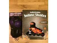 Inline Roller Skates and Protection Set