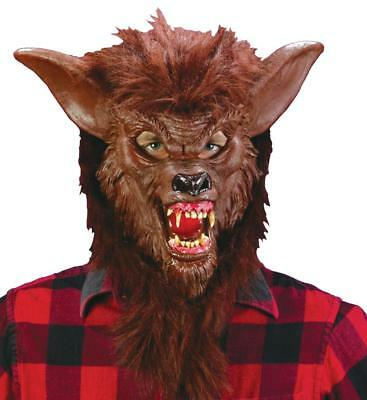 Deluxe Wolf Ferocious Fangs Full Cover Head Mask Long Hair and Terrifying Fangs](Halloween Terrifying Costumes)