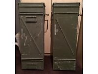 Ex army surplus shell storage boxes