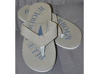 MENS M&S BLUE HARBOUR FLIP FLOPS / BEACH SANDLES - SIZE M 8 - 9 - GREY