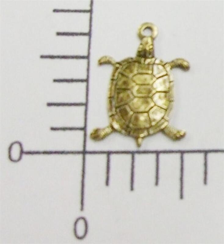48403        2 Pc Brass Oxidized Small Turtle Jewelry Finding Charm