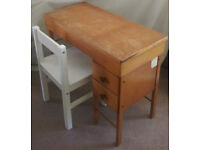 Wooden Children's desk with a chair