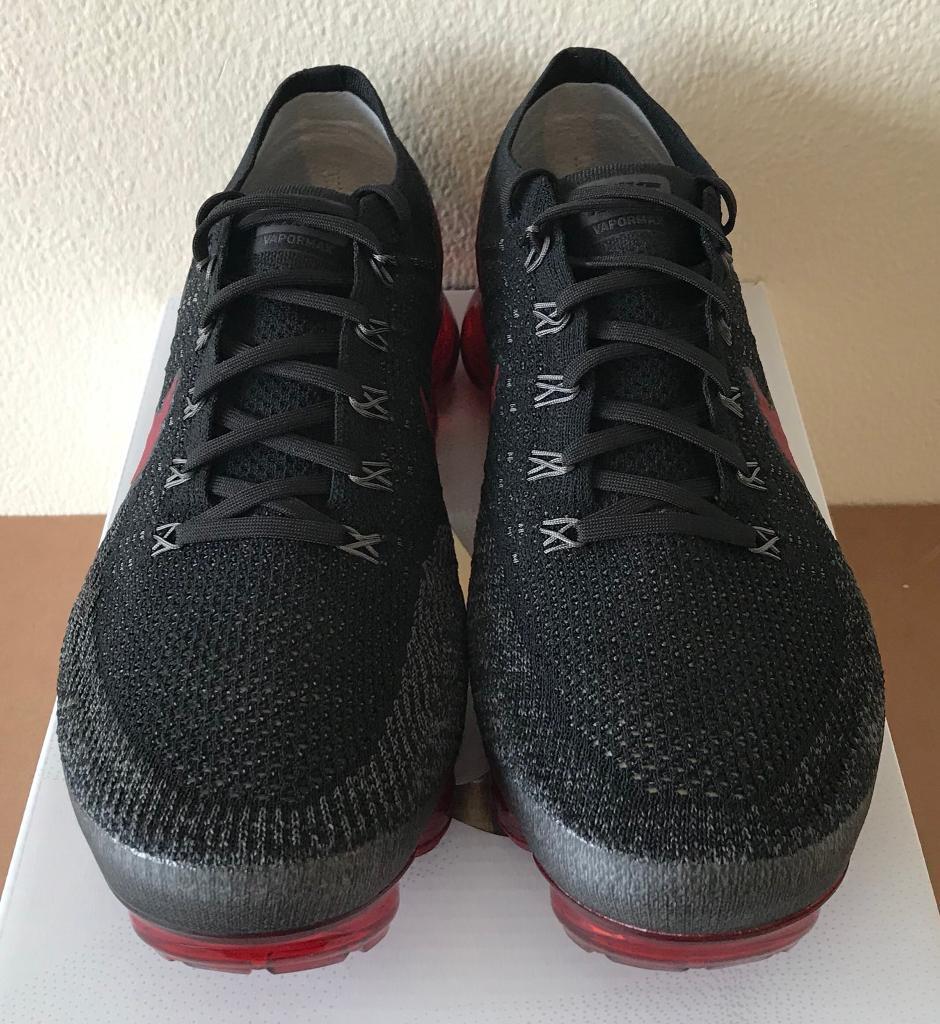 932baf87945 Nike Air Vapormax Flyknit Black Dark Team Red UK 10 - 849558 013 ...