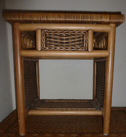 FOR SALE Small Coffee Table with shelf Willow Rattan Cane Decorative Woven ~ Bedside Table