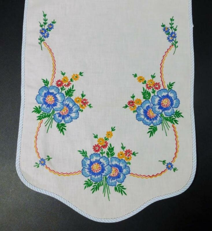 Vintage Hand Embroidered BLUE PANSY Table Runner w/Blue & White Striped Border