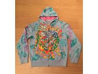 "Brand new vintage Ed Hardy ""Flaming Tiger"" Large sky blue hoodie. Screen printed design"