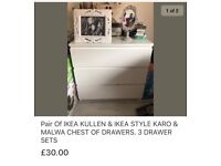 Pair of Ikea Kullen chest of drawers