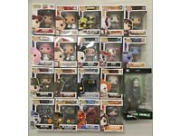 19 Funko pops common, Chase, glow in the dark and exclusive.