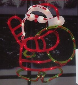 Christmas outdoor lighted santa claus figure sign window for Outside christmas figures