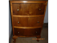 Small MINI Vintage Walnut Bedside Table ~ Chest of Drawers Bow Fronted three Drawers Upcycle Project